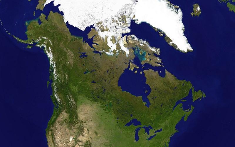 Vista satellitare del Canada