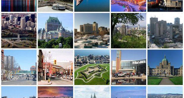 Collage delle 20 città più popolose del Canada