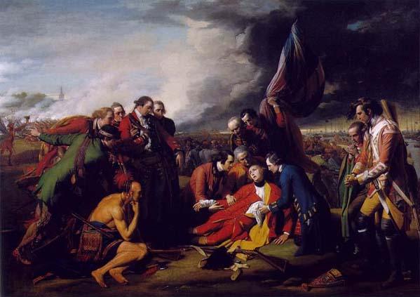 La morte del generale Wolfe nella Battaglia della piana di Abraham